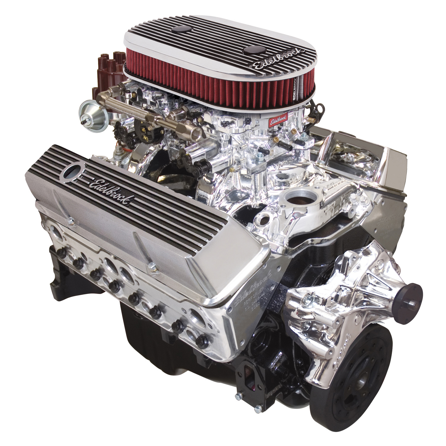 Edelbrock 45024 Performer Small Block Chevy Dual-Quad 315 Crate Engine Long  Water Pump Endura